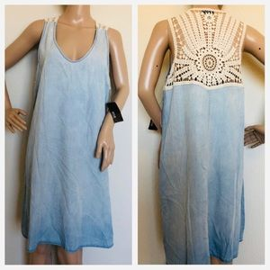 a.n.a bleached blue denim lace dress size 8 NWT